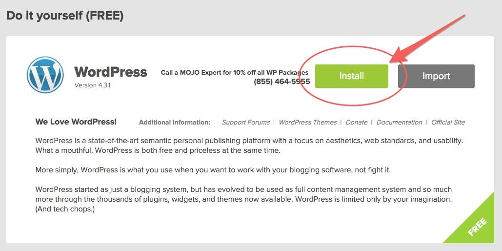 Begin the installation of WordPress